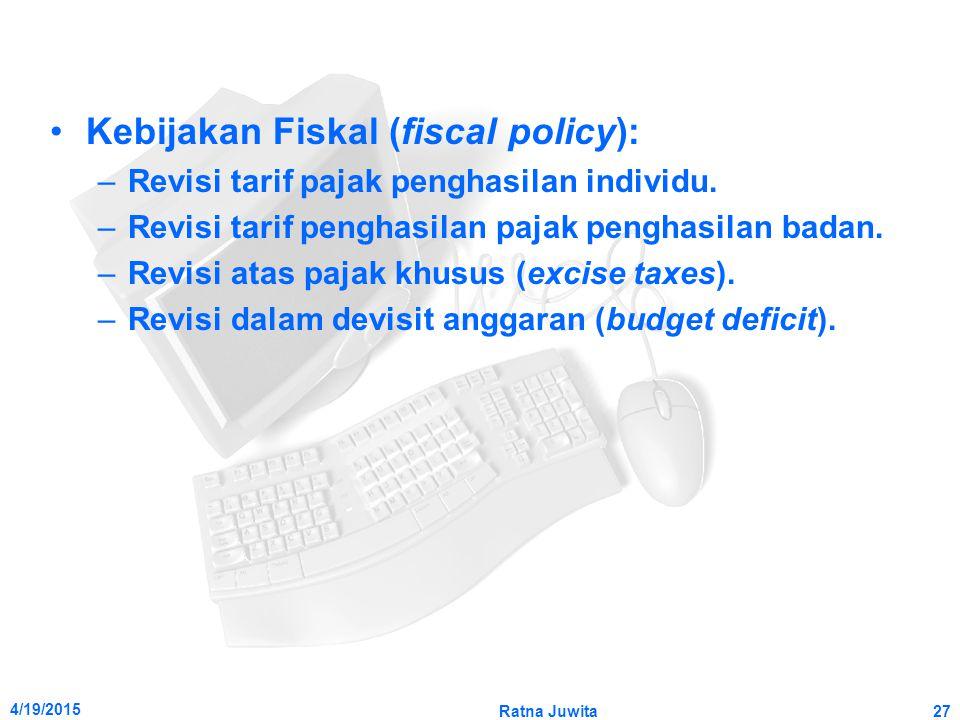 4/19/2015 Ratna Juwita27 Kebijakan Fiskal (fiscal policy): –Revisi tarif pajak penghasilan individu. –Revisi tarif penghasilan pajak penghasilan badan