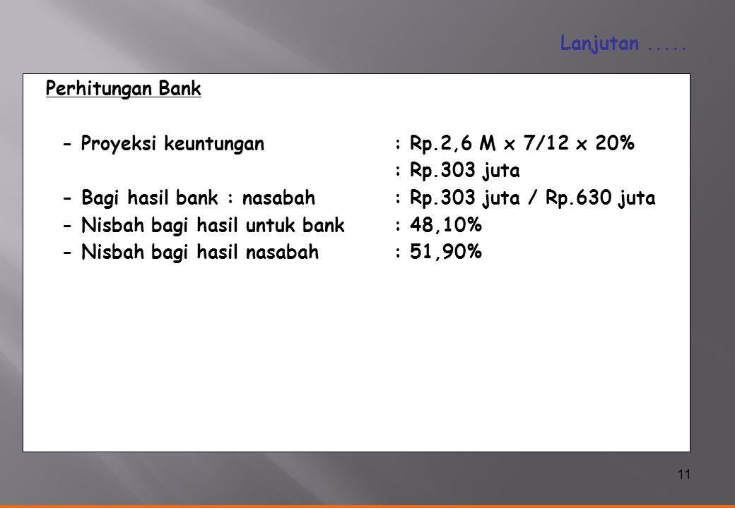 11 Perhitungan Bank - Proyeksi keuntungan: Rp.2,6 M x 7/12 x 20% : Rp.303 juta - Bagi hasil bank : nasabah: Rp.303 juta / Rp.630 juta - Nisbah bagi ha