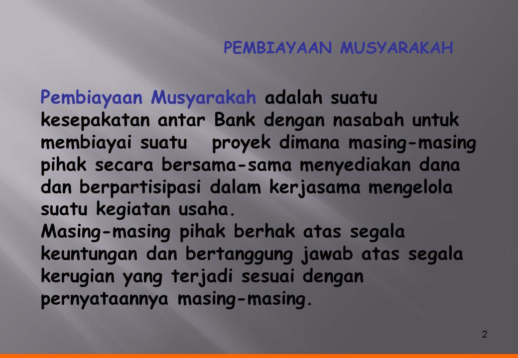 3 KEUNTUNGAN BAGI HASIL Sesuai porsi kontribusi modal (nisbah) Proyek/Usaha Modal & Tenaga/Keahlian Modal Nasabah diangsur Bank Syariah Proposal 4 1 22 3 3 SKEMA MUSYARAKAH