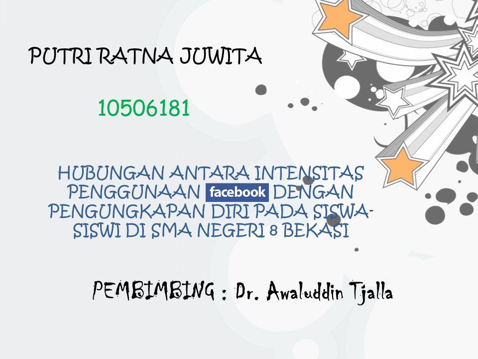PUTRI RATNA JUWITA 10506181 HUBUNGAN ANTARA INTENSITAS PENGGUNAAN DENGAN PENGUNGKAPAN DIRI PADA SISWA- SISWI DI SMA NEGERI 8 BEKASI PEMBIMBING : Dr.