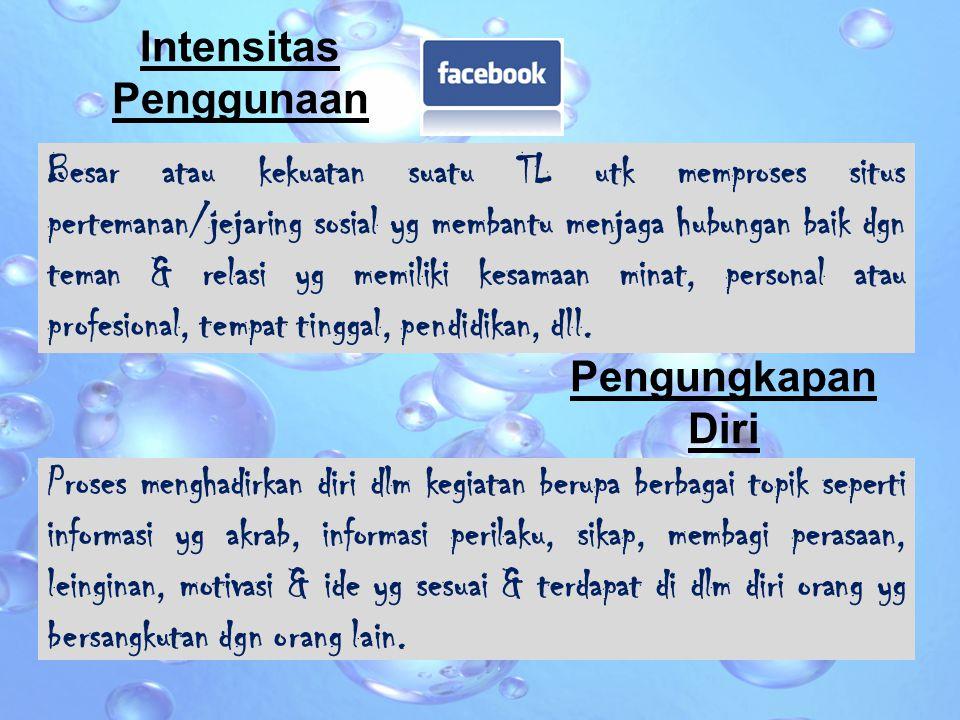 Dinamika Remaja yg menggunakan Facebook dgn intensitas yg tinggi cenderung untuk mengungkapkan diri dan terbuka kepada teman-teman sebayanya.