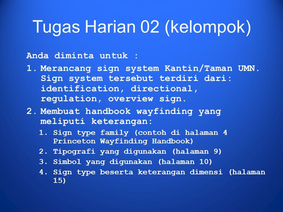 Tugas Harian 02 (kelompok) Anda diminta untuk : 1.Merancang sign system Kantin/Taman UMN. Sign system tersebut terdiri dari: identification, direction