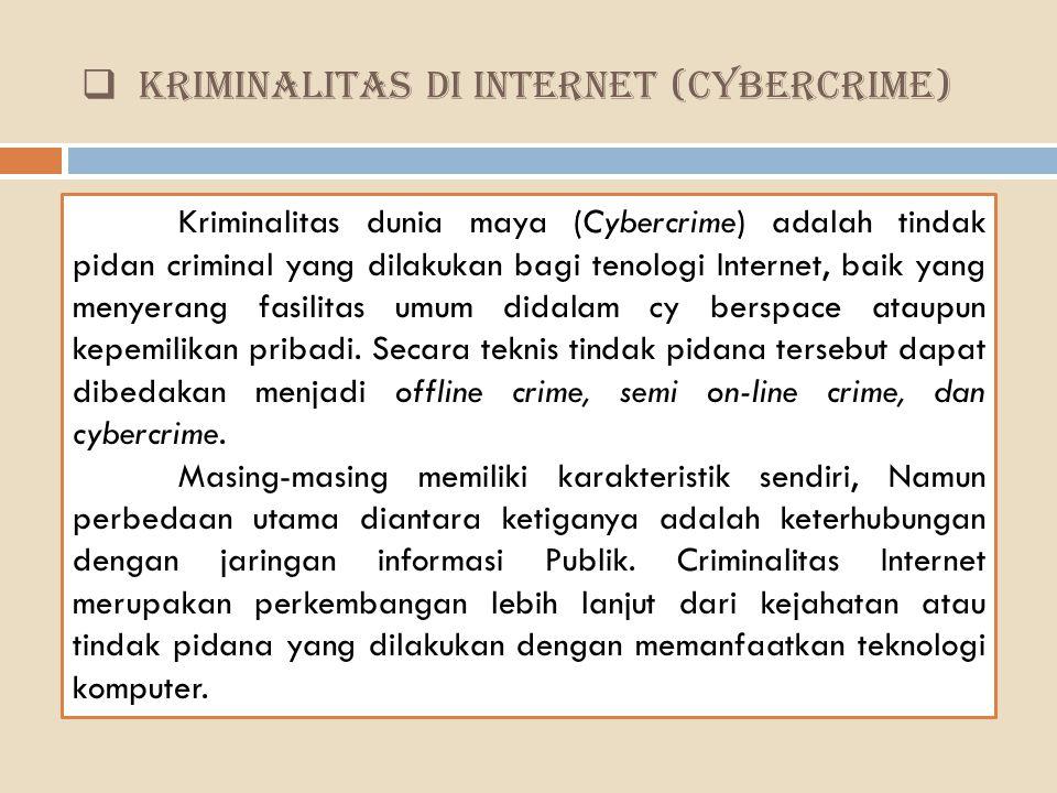 KRIMINALITAS DI INTERNET (CYBERCRIME) Kriminalitas dunia maya (Cybercrime) adalah tindak pidan criminal yang dilakukan bagi tenologi Internet, baik