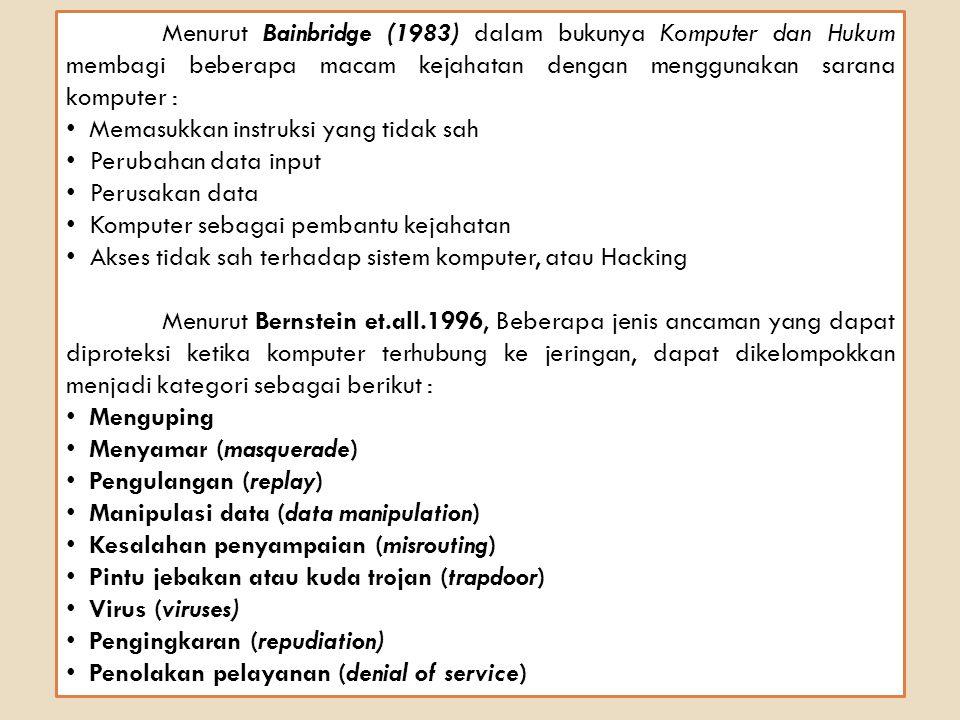 Menurut Bainbridge (1983) dalam bukunya Komputer dan Hukum membagi beberapa macam kejahatan dengan menggunakan sarana komputer : Memasukkan instruksi