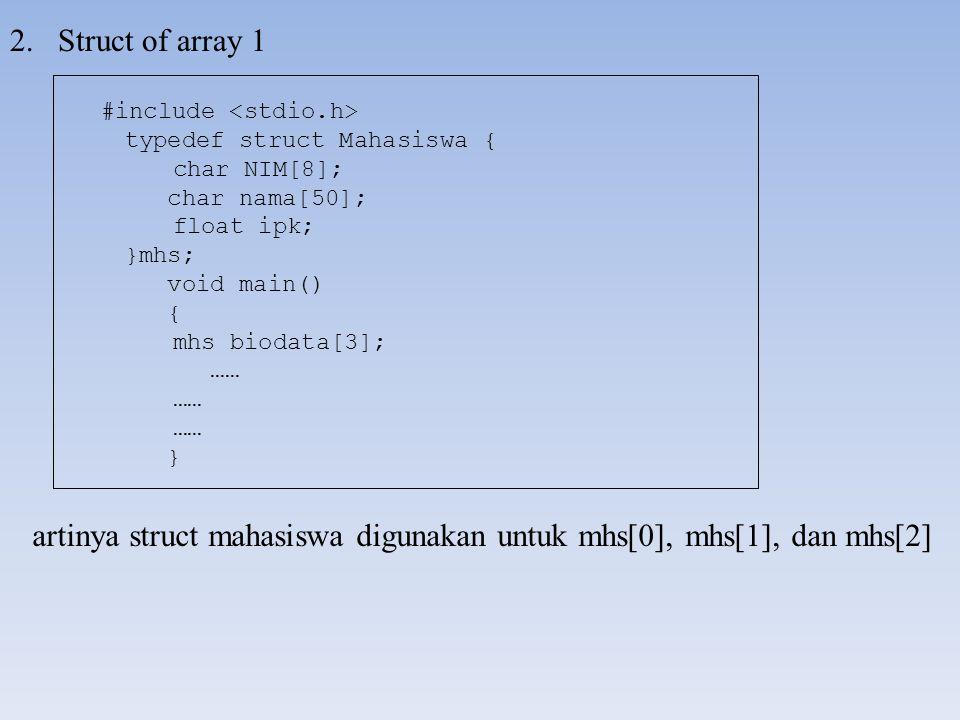 2.Struct of array 1 artinya struct mahasiswa digunakan untuk mhs[0], mhs[1], dan mhs[2] #include typedef struct Mahasiswa { char NIM[8]; char nama[50]; float ipk; }mhs; void main() { mhs biodata[3]; …… }
