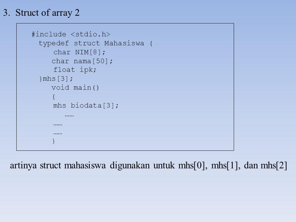 3. Struct of array 2 artinya struct mahasiswa digunakan untuk mhs[0], mhs[1], dan mhs[2] #include typedef struct Mahasiswa { char NIM[8]; char nama[50