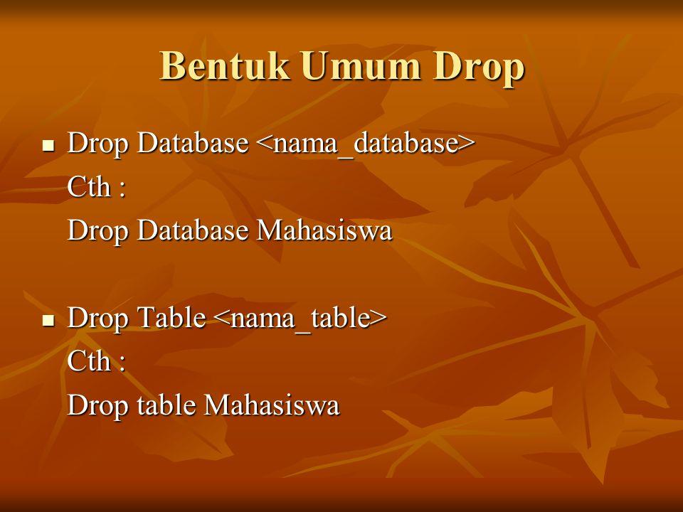 Bentuk Umum Drop Drop Database Drop Database Cth : Drop Database Mahasiswa Drop Table Drop Table Cth : Drop table Mahasiswa