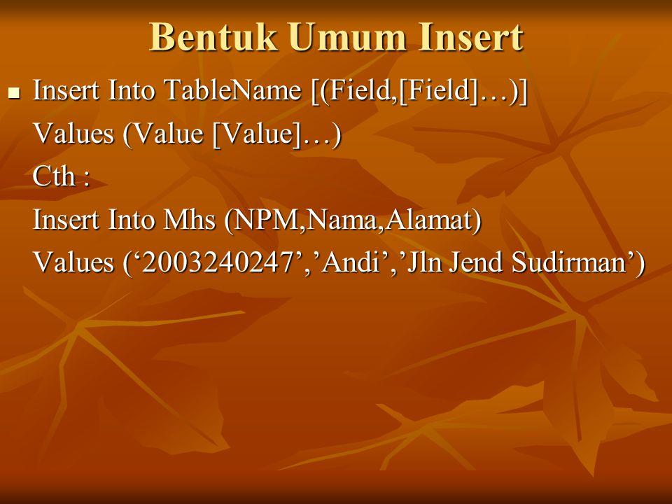 Bentuk Umum Insert Insert Into TableName [(Field,[Field]…)] Insert Into TableName [(Field,[Field]…)] Values (Value [Value]…) Cth : Insert Into Mhs (NPM,Nama,Alamat) Values ('2003240247','Andi','Jln Jend Sudirman')