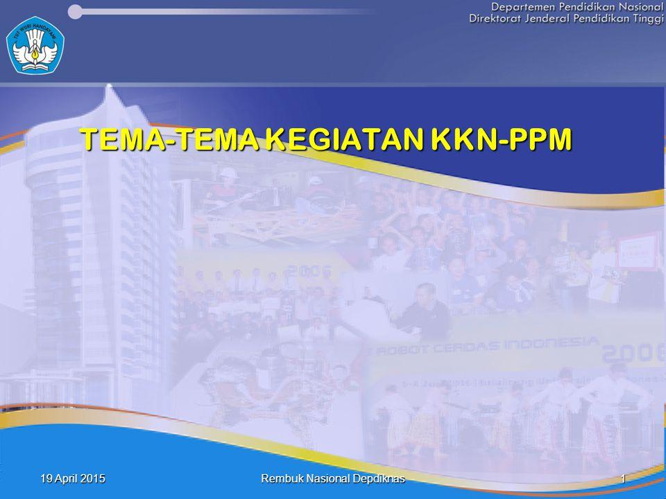 19 April 201519 April 201519 April 2015 1 Rembuk Nasional Depdiknas TEMA-TEMA KEGIATAN KKN-PPM