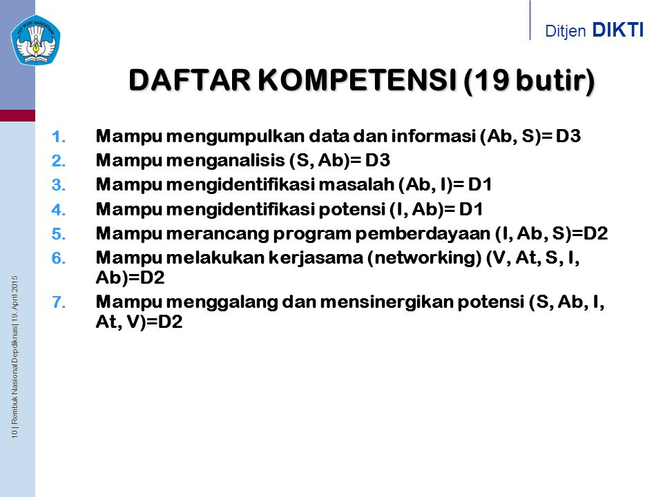 10 | Rembuk Nasional Depdiknas | 19. April 2015 Ditjen DIKTI DAFTAR KOMPETENSI (19 butir) 1. Mampu mengumpulkan data dan informasi (Ab, S)= D3 2. Mamp