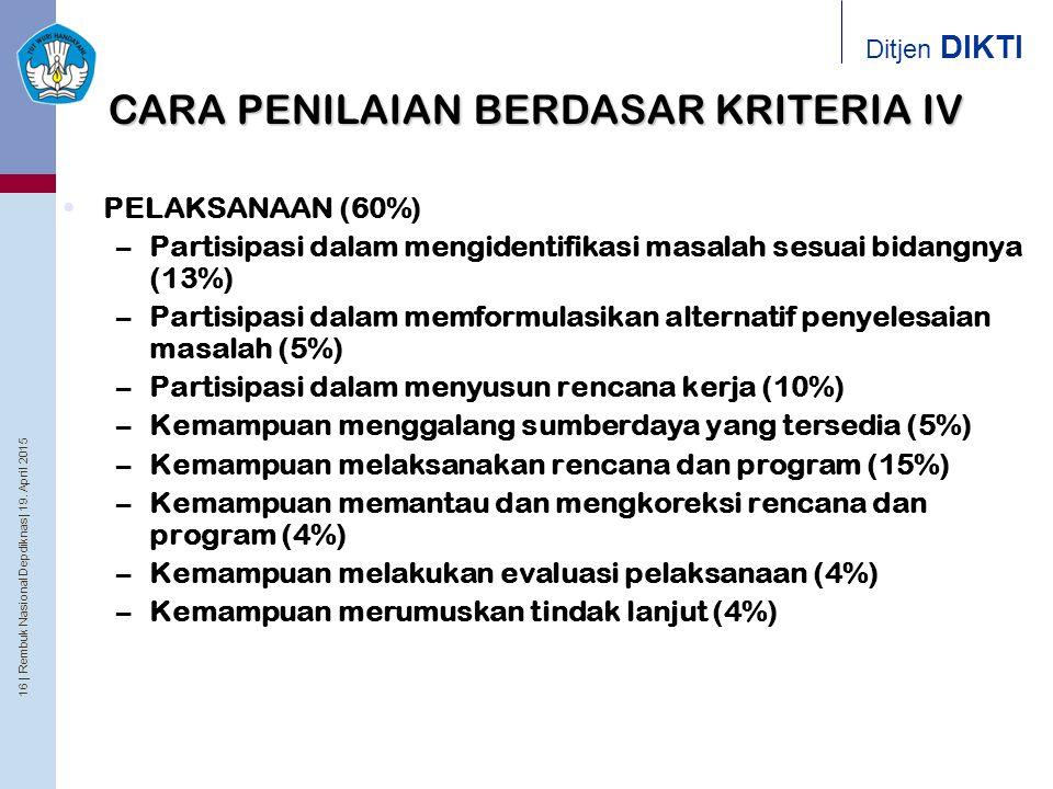 16 | Rembuk Nasional Depdiknas | 19. April 2015 Ditjen DIKTI CARA PENILAIAN BERDASAR KRITERIA IV PELAKSANAAN (60%) –Partisipasi dalam mengidentifikasi