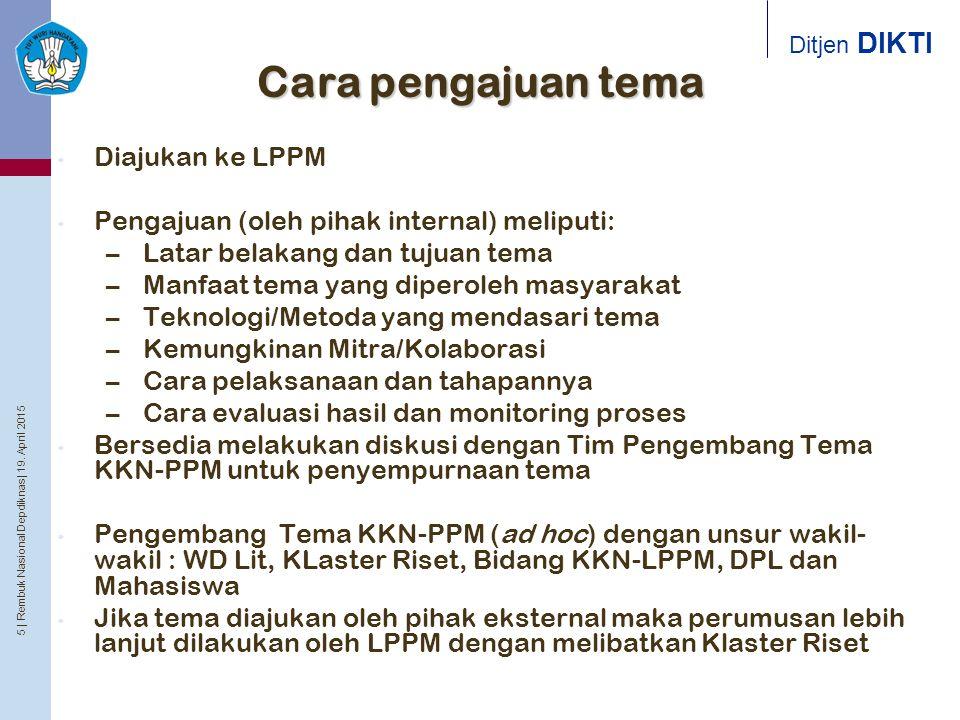 5 | Rembuk Nasional Depdiknas | 19. April 2015 Ditjen DIKTI Cara pengajuan tema Diajukan ke LPPM Pengajuan (oleh pihak internal) meliputi: – Latar bel