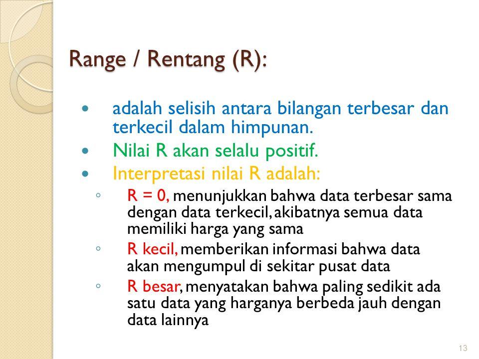 adalah selisih antara bilangan terbesar dan terkecil dalam himpunan. Nilai R akan selalu positif. Interpretasi nilai R adalah: ◦ R = 0, menunjukkan ba