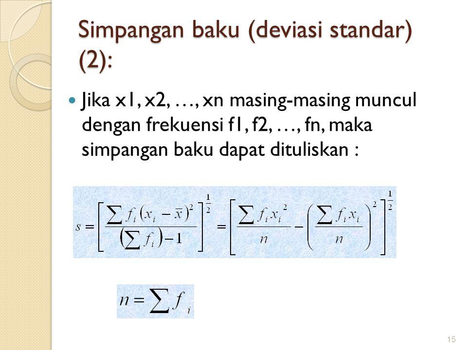 Jika x1, x2, …, xn masing-masing muncul dengan frekuensi f1, f2, …, fn, maka simpangan baku dapat dituliskan : 15 Simpangan baku (deviasi standar) (2)