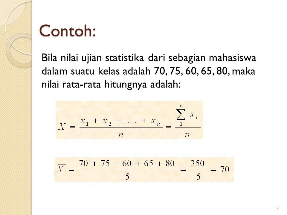 Contoh: Bila nilai ujian statistika dari sebagian mahasiswa dalam suatu kelas adalah 70, 75, 60, 65, 80, maka nilai rata-rata hitungnya adalah: 7
