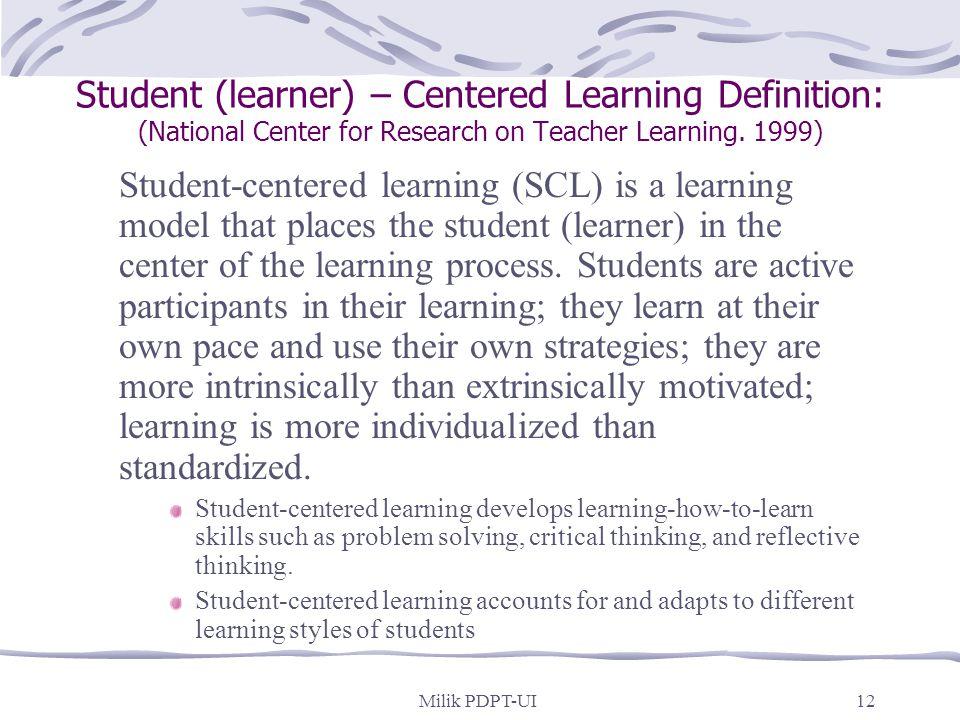 """Milik PDPT-UI11 Pengertian """"student-centered learning"""