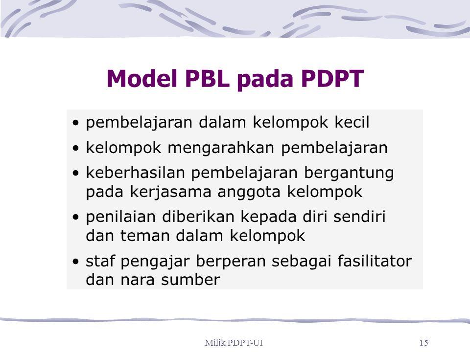Milik PDPT-UI14 Pembelajaran Berbasis Masalah adalah... pembelajaran yang dipicu permasalahan masalah didasarkan pada situasi dunia nyata yang komplek