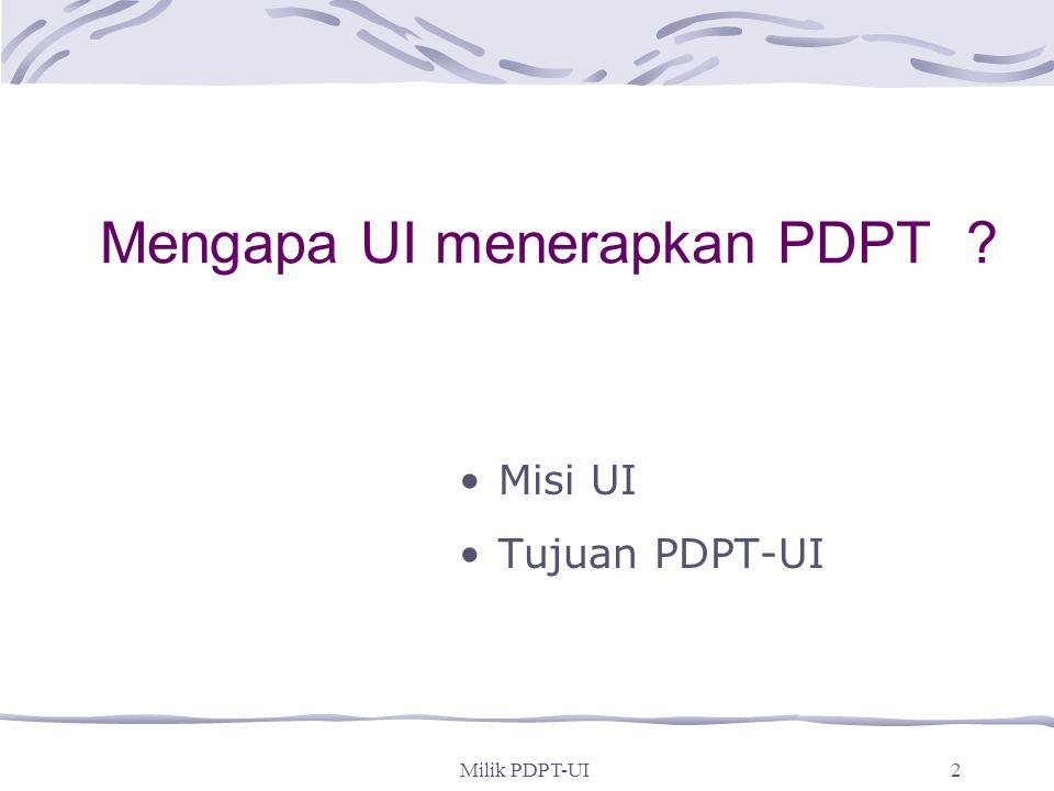 Milik PDPT-UI1 Program Dasar Pendidikan Tinggi Universitas Indonesia (PDPT-UI)