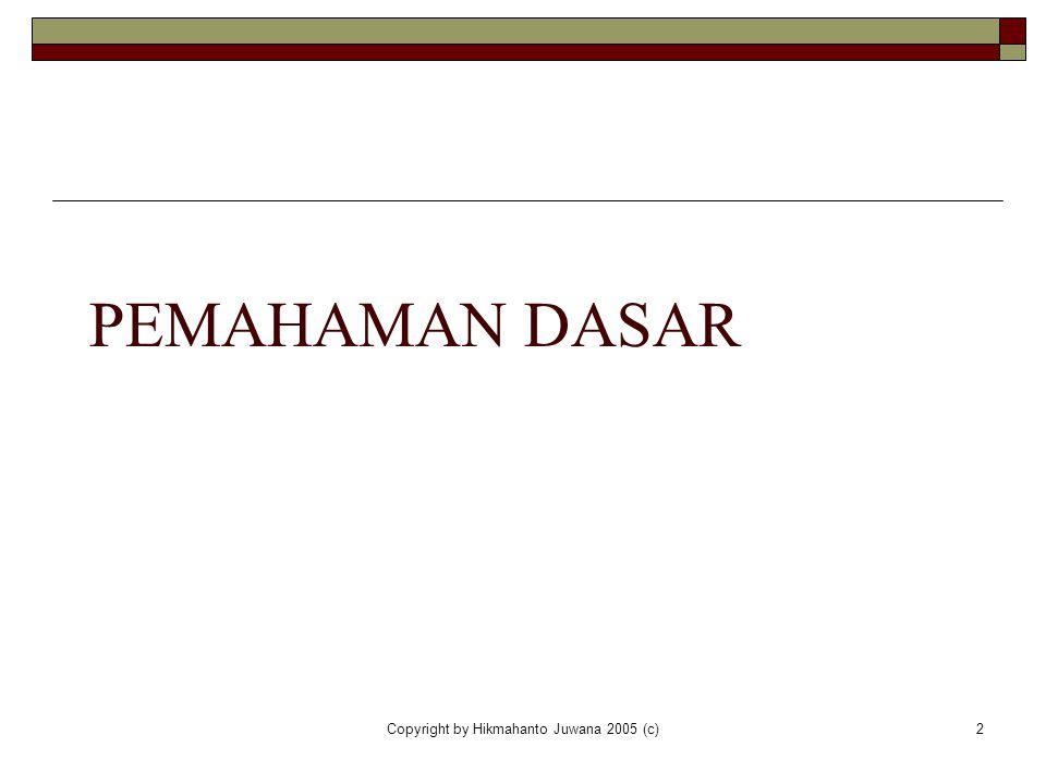 Copyright by Hikmahanto Juwana 2005 (c)2 PEMAHAMAN DASAR