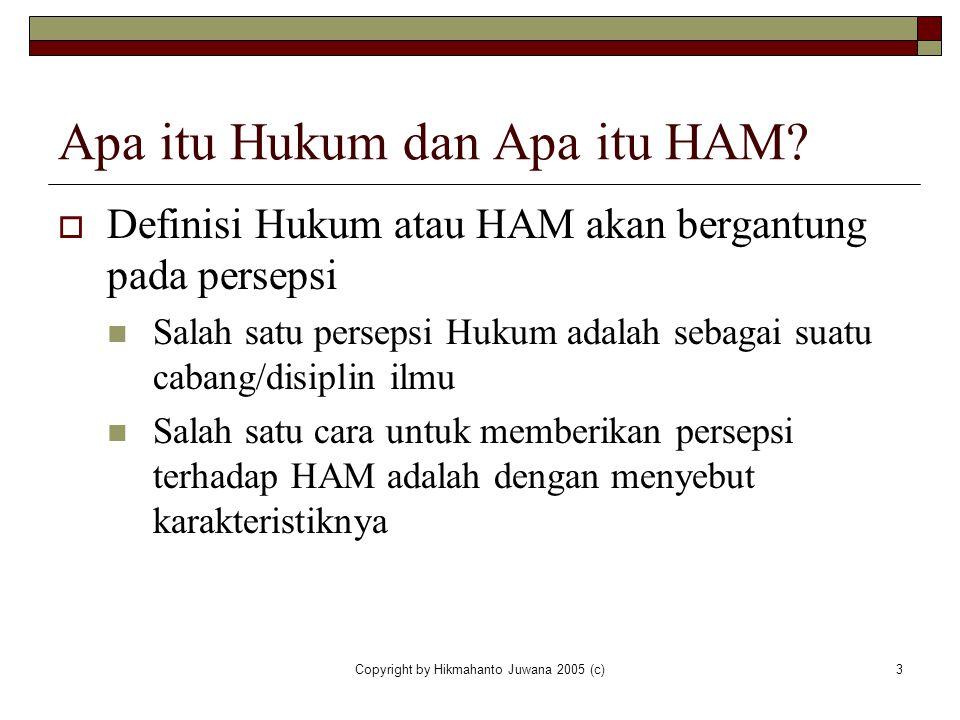 Copyright by Hikmahanto Juwana 2005 (c)3 Apa itu Hukum dan Apa itu HAM?  Definisi Hukum atau HAM akan bergantung pada persepsi Salah satu persepsi Hu