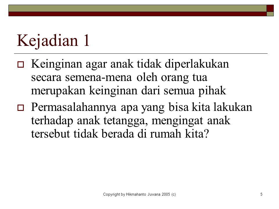 Copyright by Hikmahanto Juwana 2005 (c)5 Kejadian 1  Keinginan agar anak tidak diperlakukan secara semena-mena oleh orang tua merupakan keinginan dar