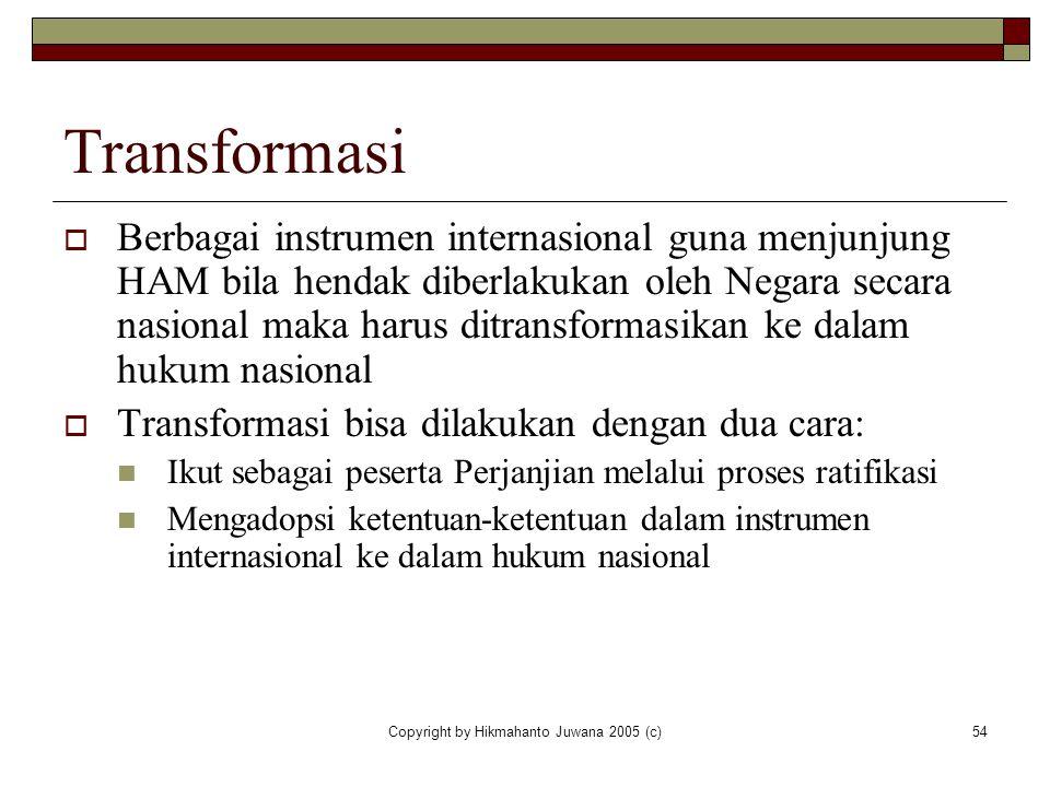 Copyright by Hikmahanto Juwana 2005 (c)54 Transformasi  Berbagai instrumen internasional guna menjunjung HAM bila hendak diberlakukan oleh Negara sec