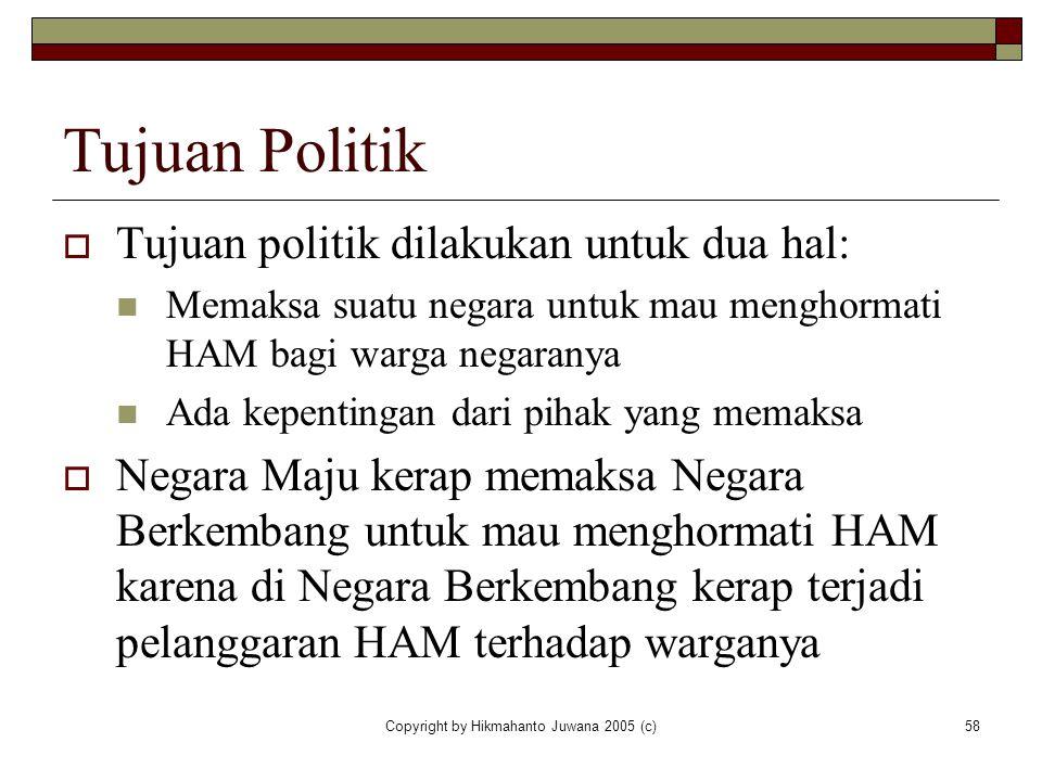 Copyright by Hikmahanto Juwana 2005 (c)58 Tujuan Politik  Tujuan politik dilakukan untuk dua hal: Memaksa suatu negara untuk mau menghormati HAM bagi