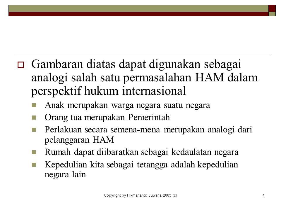 Copyright by Hikmahanto Juwana 2005 (c)7  Gambaran diatas dapat digunakan sebagai analogi salah satu permasalahan HAM dalam perspektif hukum internas