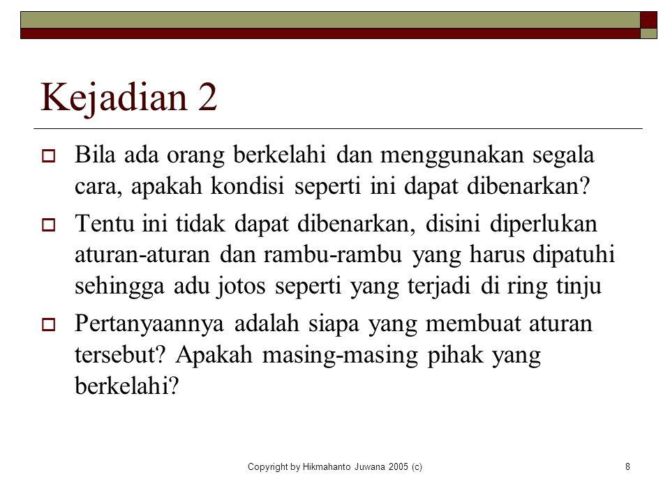Copyright by Hikmahanto Juwana 2005 (c)8 Kejadian 2  Bila ada orang berkelahi dan menggunakan segala cara, apakah kondisi seperti ini dapat dibenarka