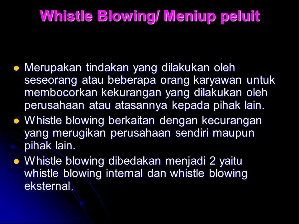 Whistle Blowing/ Meniup peluit Merupakan tindakan yang dilakukan oleh seseorang atau beberapa orang karyawan untuk membocorkan kekurangan yang dilakuk