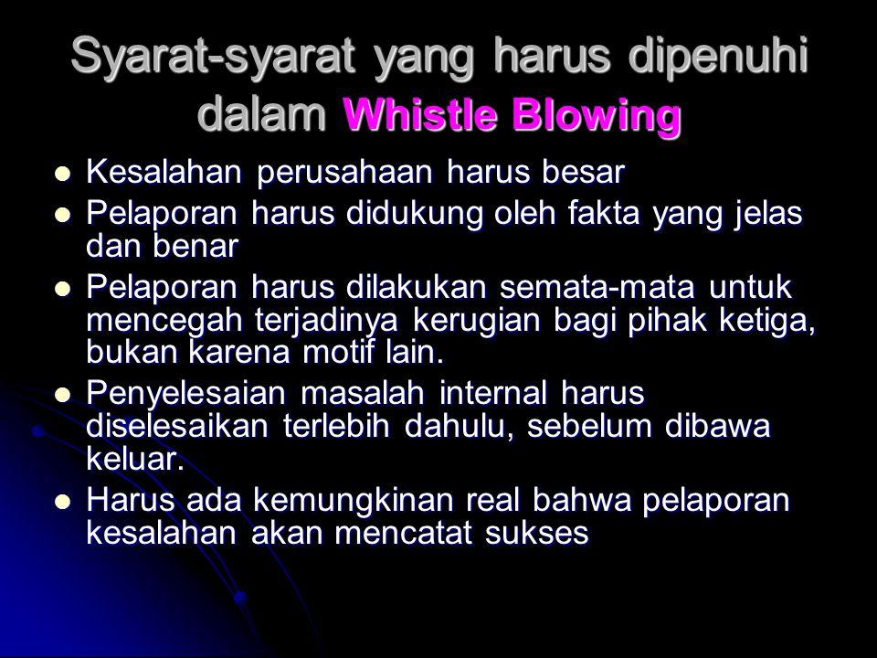 Syarat-syarat yang harus dipenuhi dalam Whistle Blowing Kesalahan perusahaan harus besar Kesalahan perusahaan harus besar Pelaporan harus didukung ole