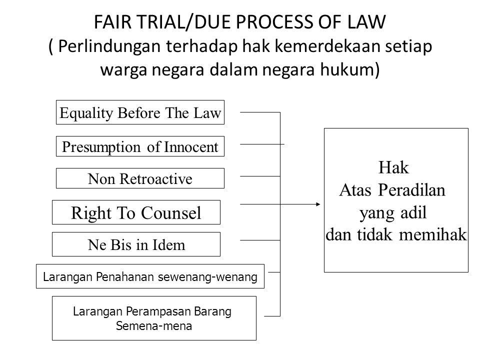 FAIR TRIAL/DUE PROCESS OF LAW ( Perlindungan terhadap hak kemerdekaan setiap warga negara dalam negara hukum) Equality Before The Law Presumption of I