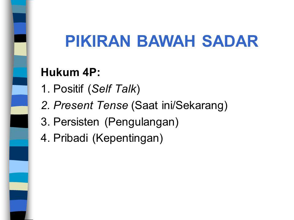 Hukum 4P: 1. Positif (Self Talk) 2. Present Tense (Saat ini/Sekarang) 3. Persisten (Pengulangan) 4. Pribadi (Kepentingan) PIKIRAN BAWAH SADAR