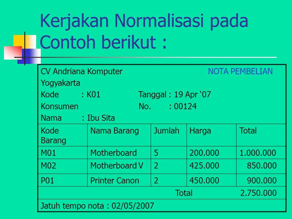 Kerjakan Normalisasi pada Contoh berikut : CV Andriana Komputer NOTA PEMBELIAN Yogyakarta Kode : K01 Tanggal : 19 Apr '07 Konsumen No. : 00124 Nama :