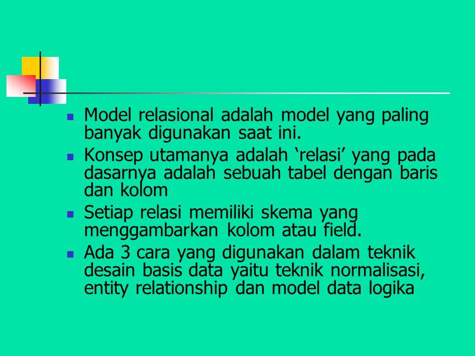 Model relasional adalah model yang paling banyak digunakan saat ini. Konsep utamanya adalah 'relasi' yang pada dasarnya adalah sebuah tabel dengan bar