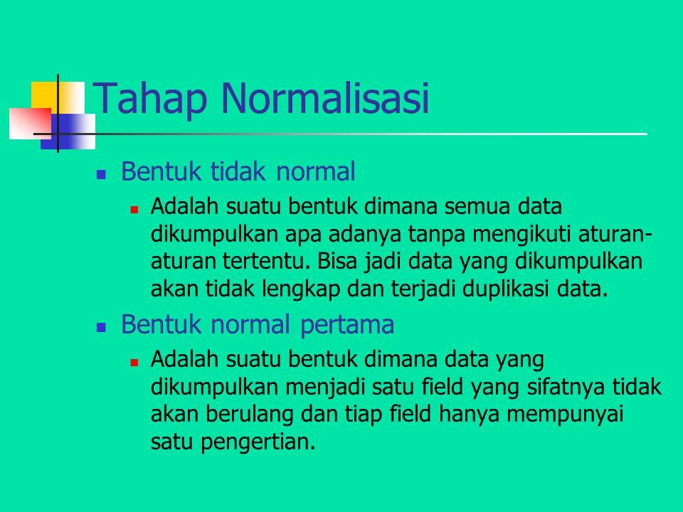 Tahap Normalisasi Bentuk tidak normal Adalah suatu bentuk dimana semua data dikumpulkan apa adanya tanpa mengikuti aturan- aturan tertentu. Bisa jadi