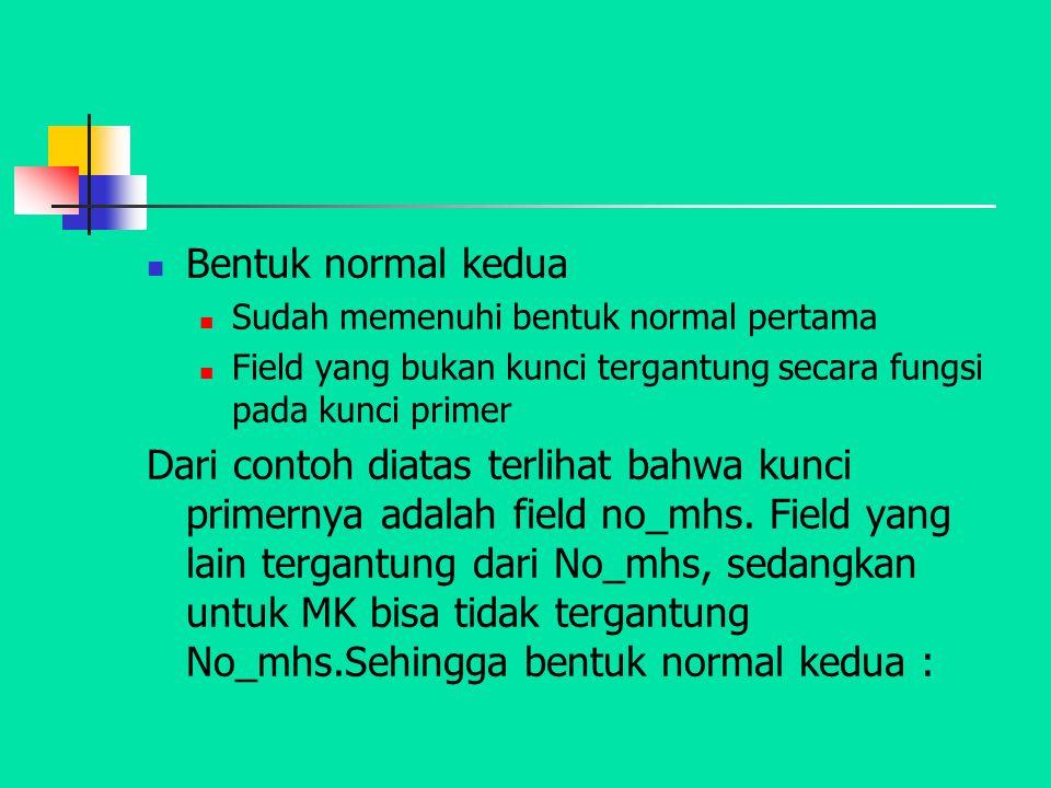 Bentuk normal kedua Sudah memenuhi bentuk normal pertama Field yang bukan kunci tergantung secara fungsi pada kunci primer Dari contoh diatas terlihat