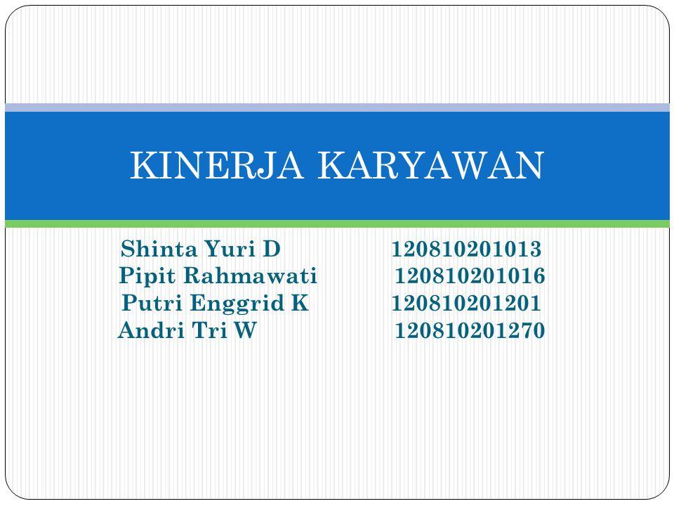 Shinta Yuri D 120810201013 Pipit Rahmawati 120810201016 Putri Enggrid K 120810201201 Andri Tri W 120810201270 KINERJA KARYAWAN