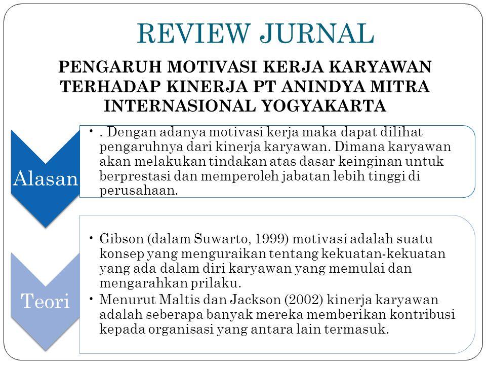 REVIEW JURNAL PENGARUH MOTIVASI KERJA KARYAWAN TERHADAP KINERJA PT ANINDYA MITRA INTERNASIONAL YOGYAKARTA Alasan. Dengan adanya motivasi kerja maka da