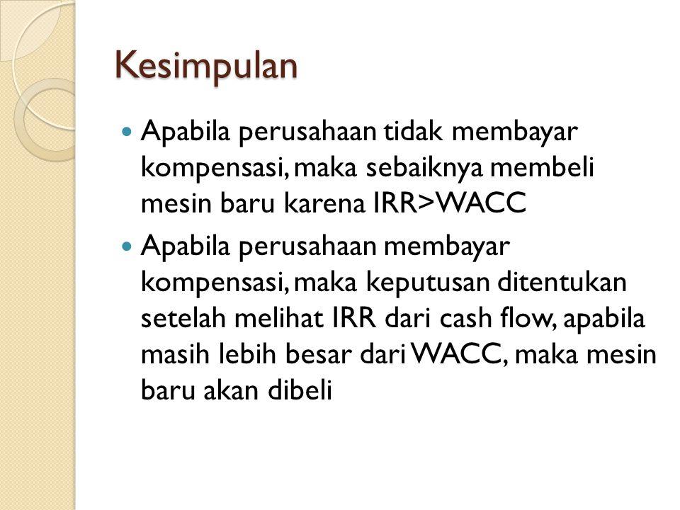 Kesimpulan Apabila perusahaan tidak membayar kompensasi, maka sebaiknya membeli mesin baru karena IRR>WACC Apabila perusahaan membayar kompensasi, maka keputusan ditentukan setelah melihat IRR dari cash flow, apabila masih lebih besar dari WACC, maka mesin baru akan dibeli