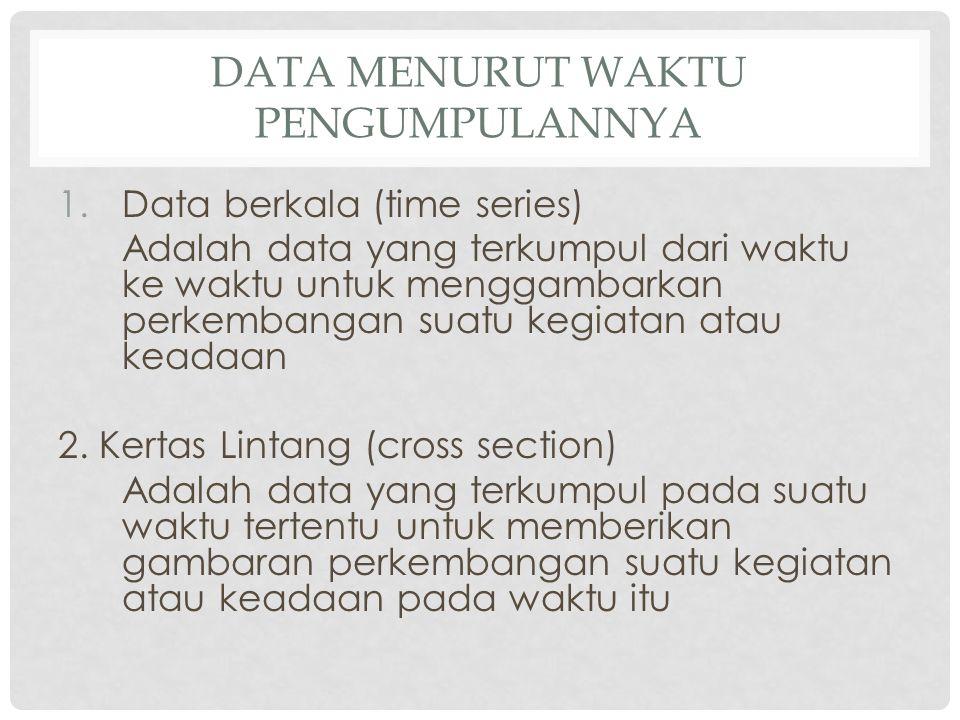 DATA MENURUT WAKTU PENGUMPULANNYA 1.Data berkala (time series) Adalah data yang terkumpul dari waktu ke waktu untuk menggambarkan perkembangan suatu kegiatan atau keadaan 2.