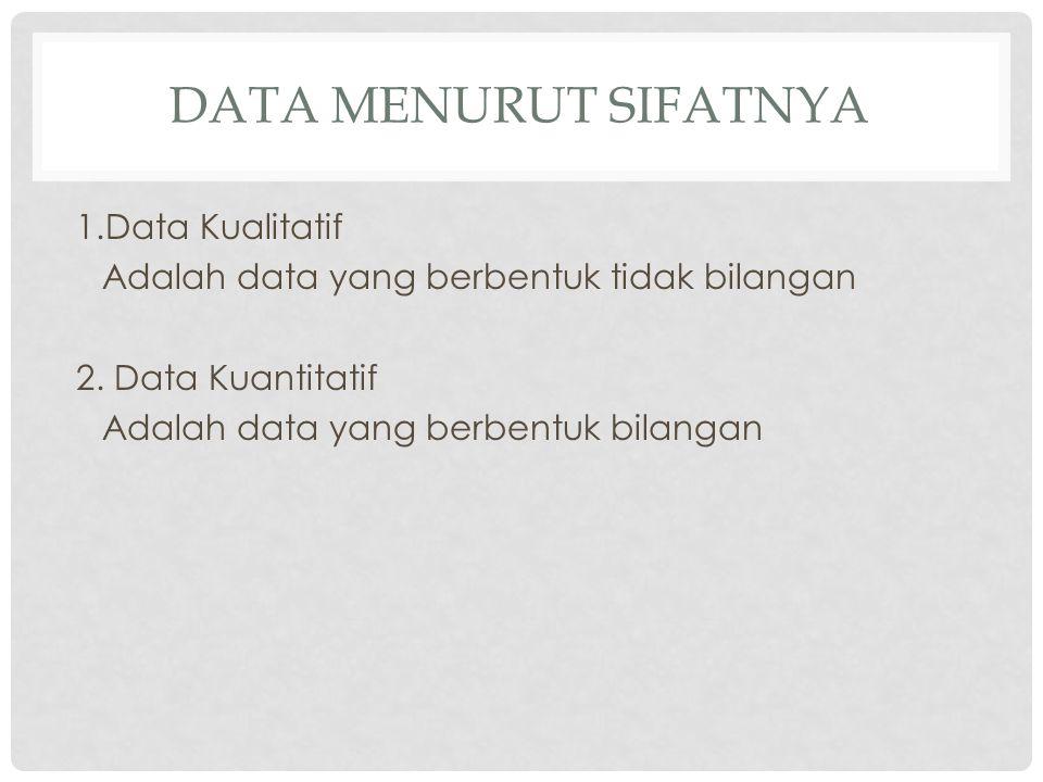 DATA MENURUT TINGKAT PENGUKURANNYA Data Nominal 1.