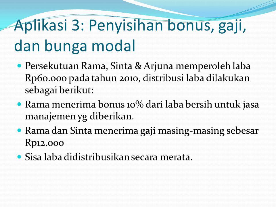 Aplikasi 3: Penyisihan bonus, gaji, dan bunga modal Persekutuan Rama, Sinta & Arjuna memperoleh laba Rp60.000 pada tahun 2010, distribusi laba dilakukan sebagai berikut: Rama menerima bonus 10% dari laba bersih untuk jasa manajemen yg diberikan.