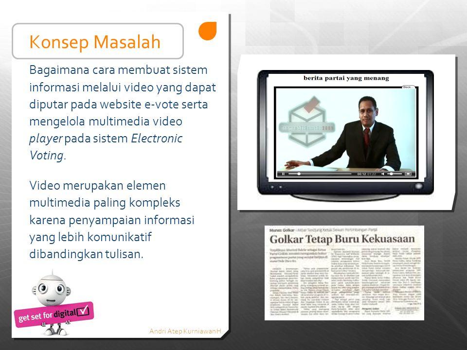 Andri Atep Kurniawan H. Bagaimana cara membuat sistem informasi melalui video yang dapat diputar pada website e-vote serta mengelola multimedia video