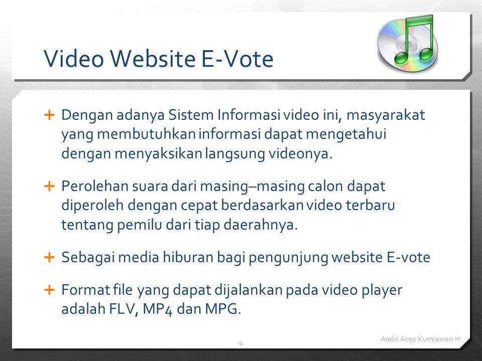 4 Video Website E-Vote DDengan adanya Sistem Informasi video ini, masyarakat yang membutuhkan informasi dapat mengetahui dengan menyaksikan langsung