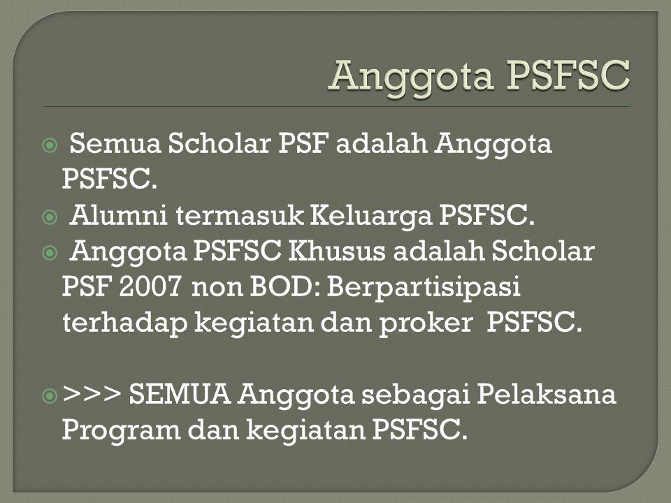  Semua Scholar PSF adalah Anggota PSFSC.  Alumni termasuk Keluarga PSFSC.