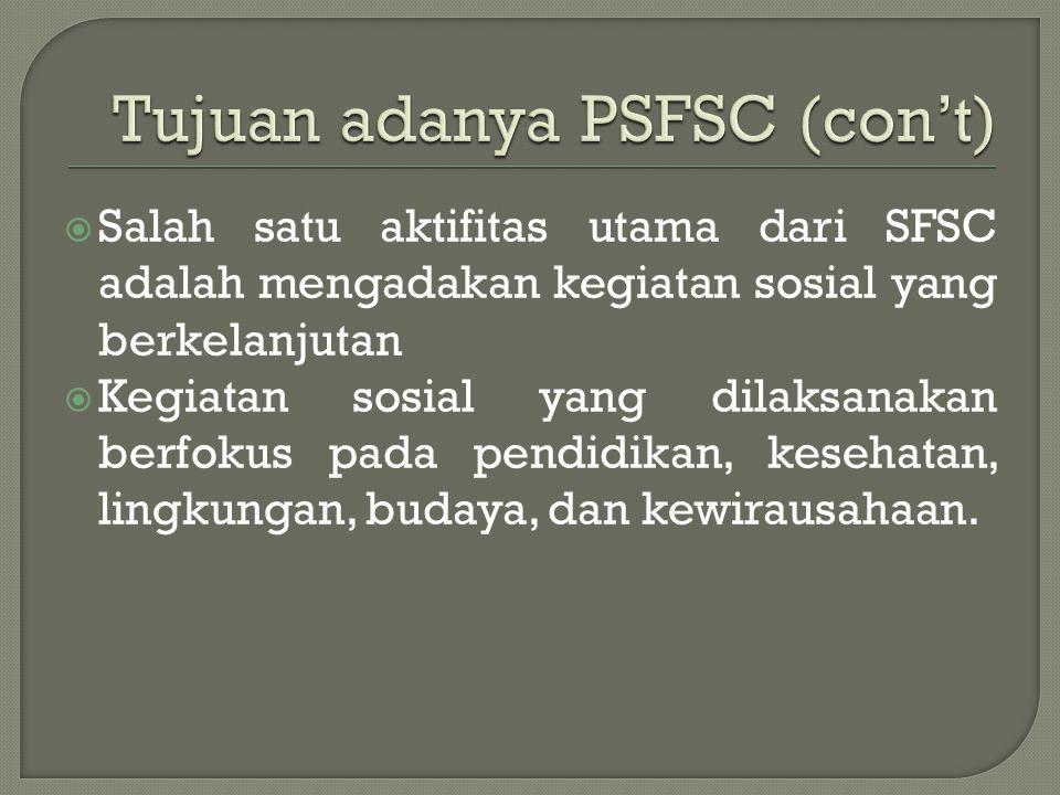  Salah satu aktifitas utama dari SFSC adalah mengadakan kegiatan sosial yang berkelanjutan  Kegiatan sosial yang dilaksanakan berfokus pada pendidikan, kesehatan, lingkungan, budaya, dan kewirausahaan.