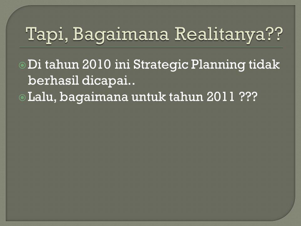  Di tahun 2010 ini Strategic Planning tidak berhasil dicapai..