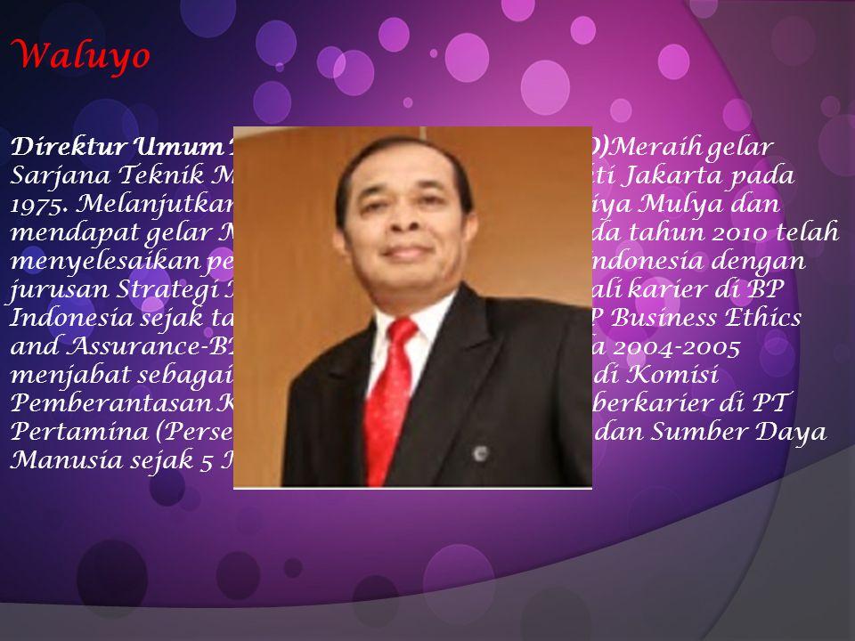 Waluyo Direktur Umum PT PERTAMINA (PERSERO)Meraih gelar Sarjana Teknik Mesin dari Universitas Trisakti Jakarta pada 1975. Melanjutkan S2 di Sekolah Ti