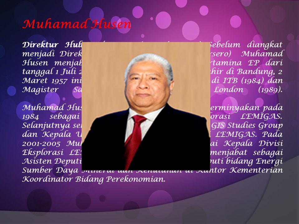 Muhamad Husen Direktur Hulu PT Pertamina (Persero) Sebelum diangkat menjadi Direktur Hulu PT Pertamina (Persero) Muhamad Husen menjabat sebagai Komisa